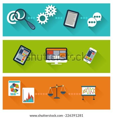 Concept for business development, web analytics, website optimization, seo flat design banners - stock vector