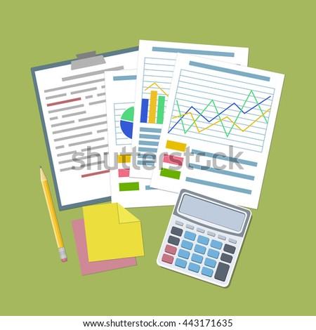 Concept for business planning and accounting, analysis, Financial Audit Concept, SEO analytics, tax audit, working, management. Analytic graphs and charts, tablet, calculator, stickers, pencil Vector  - stock vector