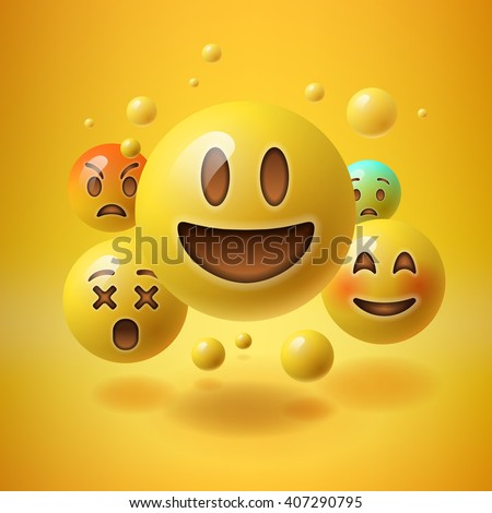 Concept for community people teamwork, yellow background with group of smiley emoticons, emoji, vector illustration. - stock vector