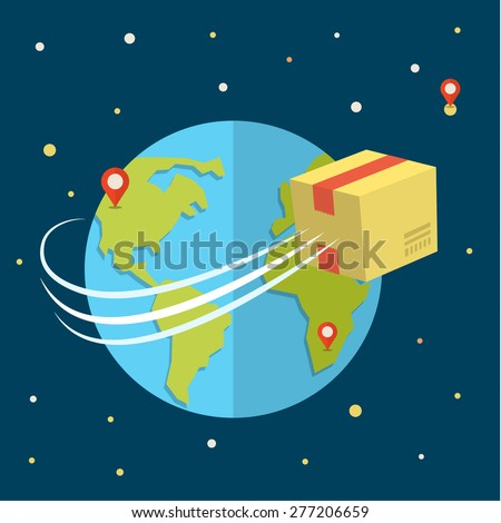 Concept for delivery service. Package flying around earth. Flat design colored vector illustration. - stock vector