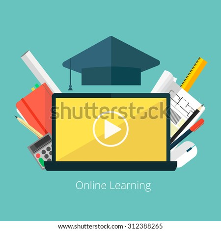 Concept for distance education, online learning for web banners and print materials. Flat design colorful vector illustration.  - stock vector