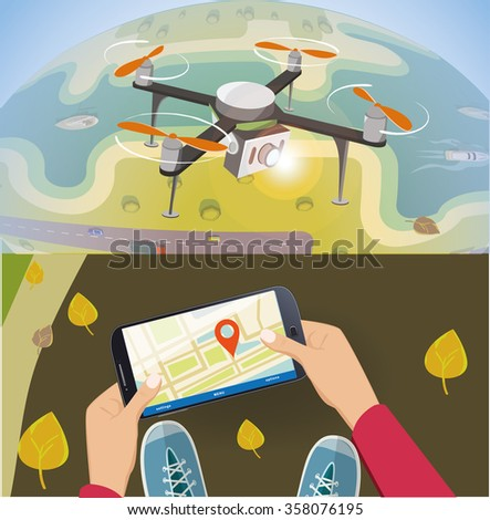 Concept for drone shooting. Delivery drone with the package over earth.  And remote contriol by smartphone. - stock vector