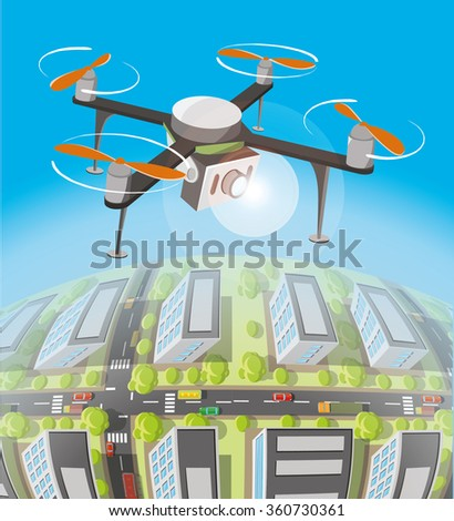 Concept for drone shooting. Drone with the camera over earth. - stock vector