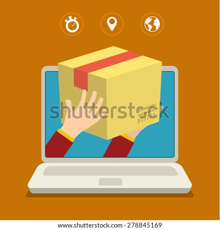 Concept for fast delivery. Flat design colorful vector illustration - stock vector