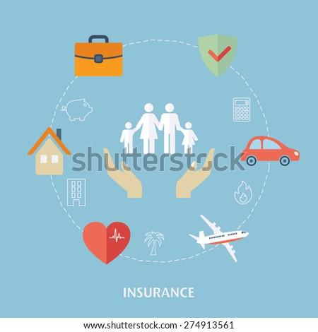 Concept for insurance icons. Flat design vector for web - stock vector