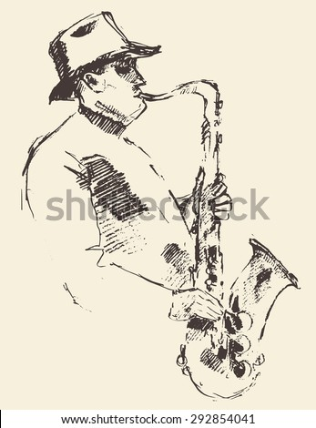 Concept for jazz poster. Man playing saxophone. Vintage hand drawn illustration, sketch. - stock vector