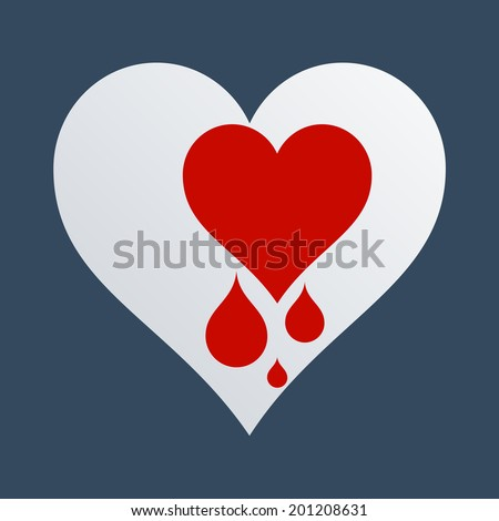 Concept for love and heart health. Flat design illustration. To add shadow to object, please activate the layer! - stock vector