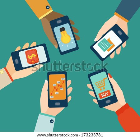 Concept for mobile apps, Flat design vector illustration. - stock vector