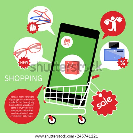 Concept for online shopping and e-commerce with shopping cart full of goods in smartphone with discount and colorless shopping pictograms - stock vector