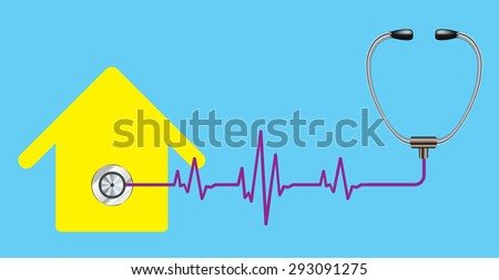 Concept for property maintenance or other real estate related. home doctor. stethoscope - stock vector