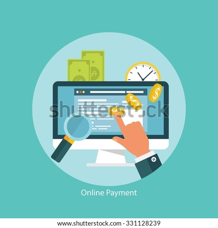 Concept for web banners and promotions. Flat design concept for online transactions  - stock vector