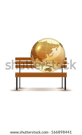 Concept globe on the bench, vector illustration, eps 10, 3 layers.