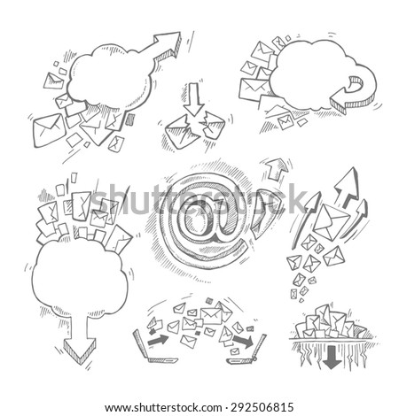 Concept hand drawn pictures set with e-mail letters and arrows - stock vector
