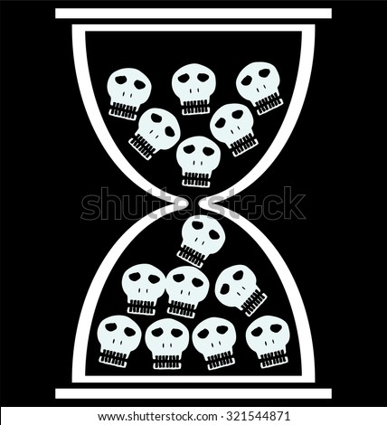 concept hourglass, with hourglass and skulls - stock vector