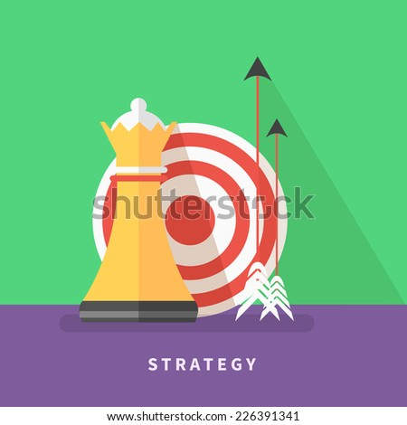 Concept icon for business strategy, mission, analytics with chess queen, target and arrows flat design style - stock vector