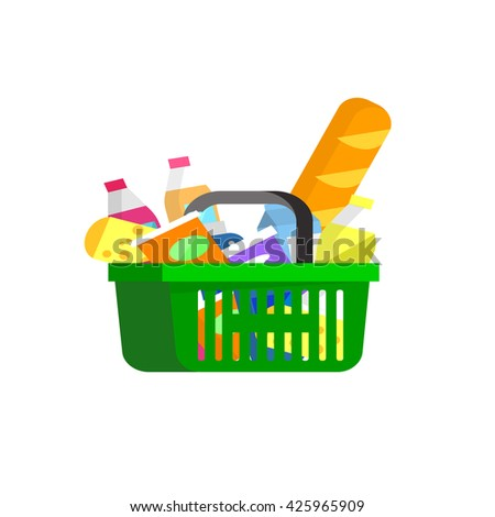 Concept illustration for Shop cart. Vector supermarket cart. Healthy eating and eco food in s