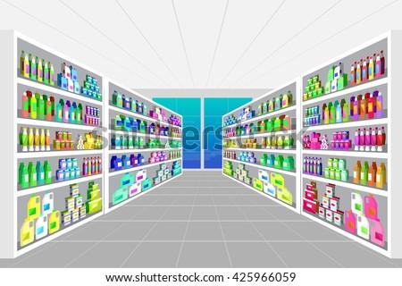 Concept illustration for Shop, supermarket. Vector supermarket shelves. Healthy eating and eco food in supermarket. Vector flat illustration for supermarket. - stock vector