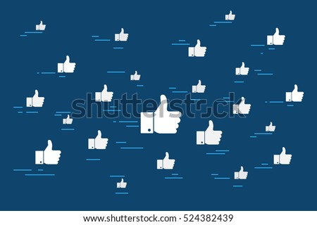 Concept illustration of cloud of flying like thumbs up symbols. Flat design for social networking and blogging on blue background