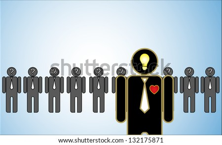 Concept Illustration of Leadership: a row of candidates or employers or people with question marks in their head standing behind a bright passionate leader standing in front