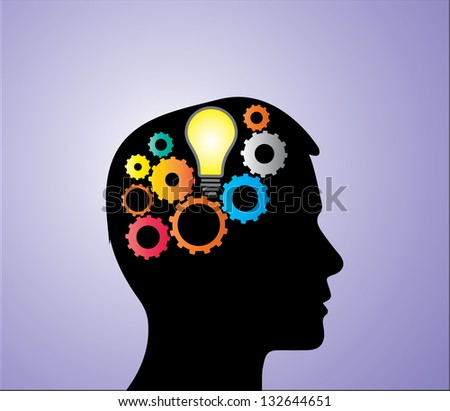 Concept Illustration of Solution or Idea creation: A bright light bulb and bright mechanical gears inside a human head silhouette - stock vector