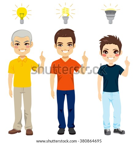 Concept illustration of three generation family members with different kind of light bulbs representing new idea and thinking - stock vector