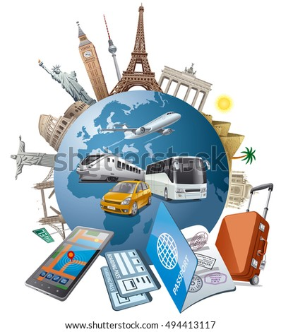 Concept illustration travel journey around world stock for Around the world cruise