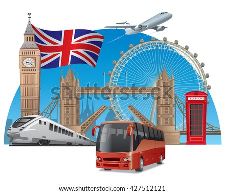 concept illustration of travel and tour in england and london by train, airplane and bus