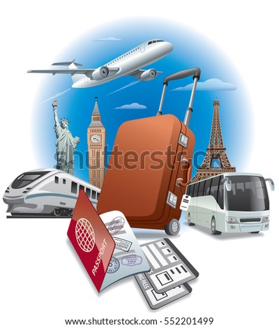 concept illustration of travel around the world, transport and passport with tickets
