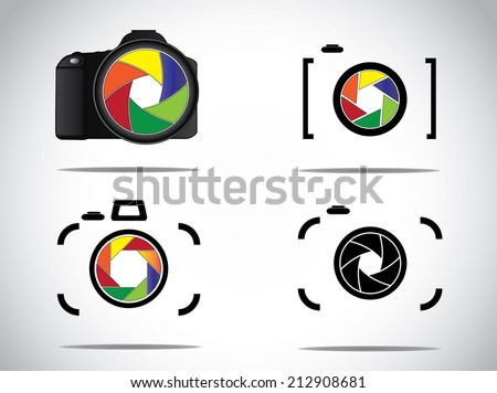 Concept Illustration of trendy minimalistic 3d digital SLR and simple Camera icons set with shutter icon or symbols - stock vector