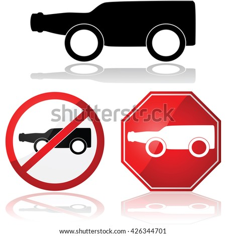 Concept illustration showing a bottle of beer with wheels, representing drinking and driving - stock vector