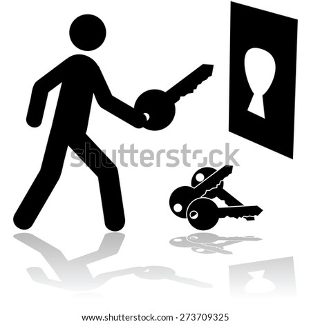 Concept illustration showing a person holding the right key to open a lock - stock vector