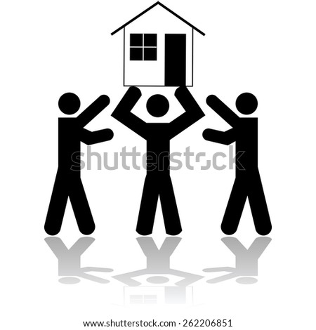 Concept illustration showing a person lifting a house while two other people try to get it from him - stock vector