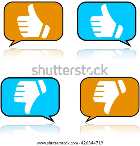 Concept illustration showing a speech bubble with a positive and a negative review - stock vector