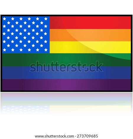 Concept illustration showing the flag of the United States mixed with the LGBTQ rainbow flag - stock vector