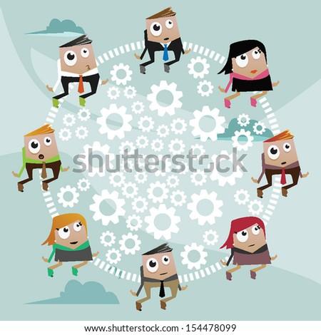 Concept illustration: teamwork - stock vector