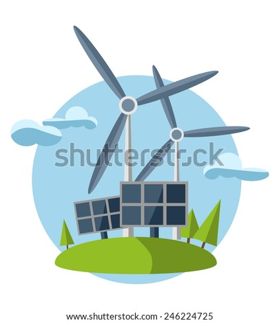 concept illustration with icon of green energy (set) - stock vector