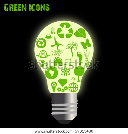 Concept image of various green eco-friendly icons inside of a light bulb.