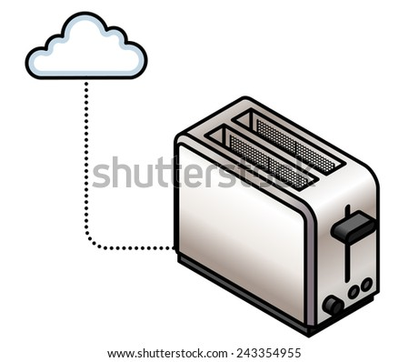 Concept: Internet of Things. A connected toaster. - stock vector