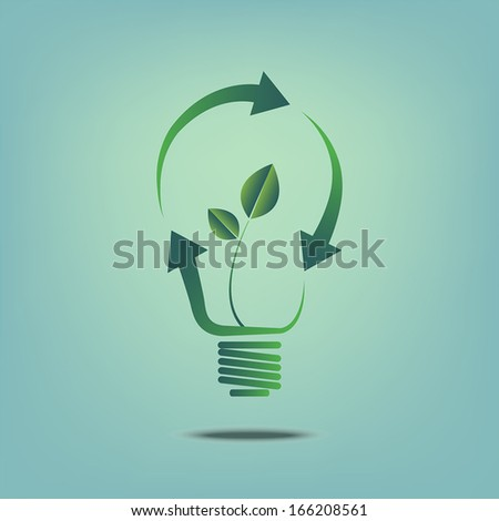 concept. light bulb outline with recycle symbol to saving energy - stock vector
