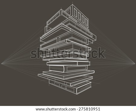 Concept linear sketch books transformed to buildings gray background