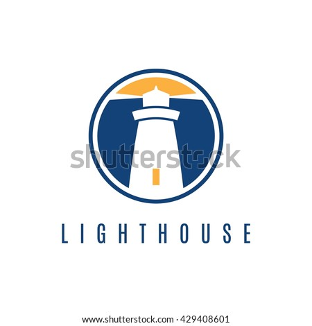 Concept logo template with lighthouse in flat design .Vector illustration - stock vector