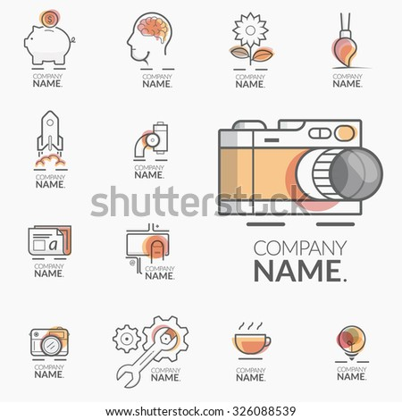 Concept logos for business company portfolio: Set of flat colorful concept icons for business design. - stock vector