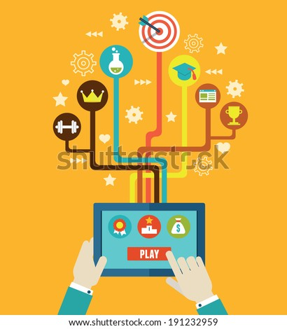 Concept management of business by gamification. Integration and development. Interaction and growth of personal qualities - vector illustration  - stock vector