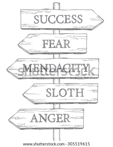 Concept: Obstacles to Success. Fear, mendacity, sloth, anger. Vector Pointer