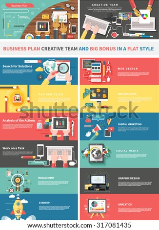 Concept of a business plan and creative team. Startup and analytics, social media, work task, web and graphic design, solution, and pay per click, strategy business illustration - stock vector