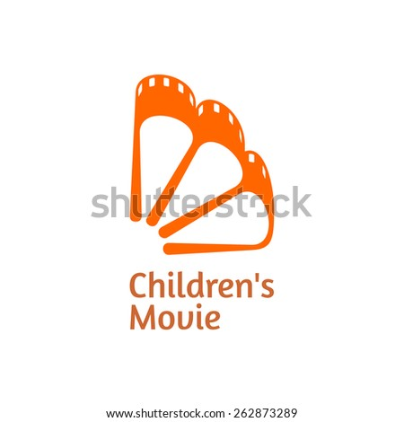 Concept of a Children's Movie icon. The movie film in a shape of an orange. Vector. - stock vector
