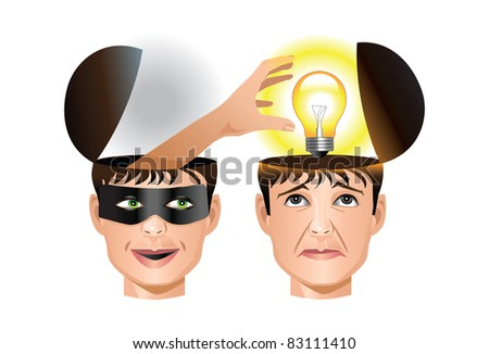 Concept of a man stealing another man's idea - stock vector