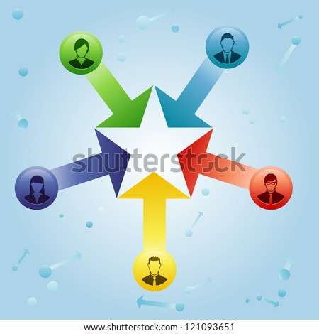 Concept of a team getting together to become more than the sum of its parts, represented as a star. - stock vector