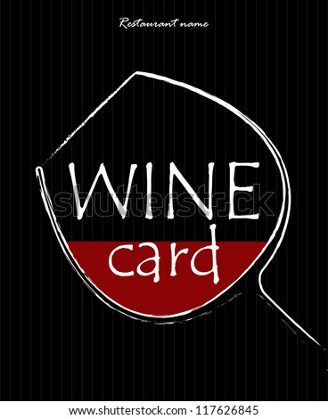 Concept of a wine card. Simple image of a glass with red liquid in it. Vector illustration. - stock vector