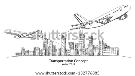 Concept of Airplane, Air Craft Shipping Around the World for Transportation Concept Sketched Up outline, Vector Illustration EPS 10. - stock vector